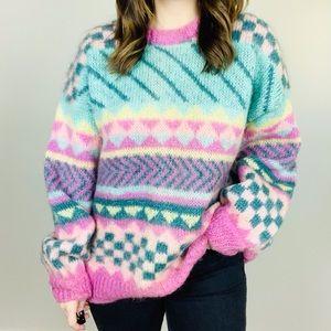 VINTAGE Crazy Pastel Geometric Sweater L Pullover